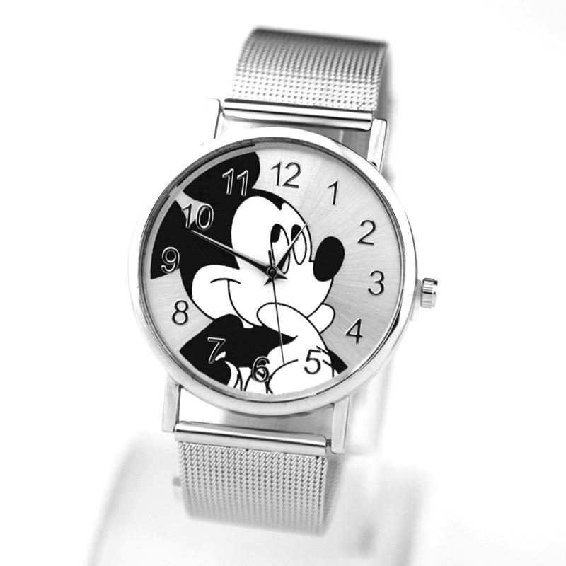 New  Mickey Mouse Watch Women's Stainless Steel Leather Casual Clock Woman Silver Black Waterproof Quartz Wristwatch