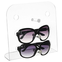 Acrylic Sunglasses Display Plexiglass Vertical Eyewear Organizer Stand Holds 3 Pairs of Glasses