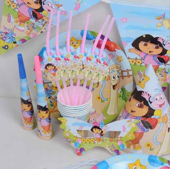 Dora tema conjunto de utensílios de mesa festa de aniversário decoração crianças balões guardanapo copos toalha de mesa bandeira palha suprimentos de festa