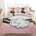 Dos desenhos animados minnie mouse algodão 3d jogo do Fundamento 4 PCS crianças quarto queen size consolador Capa de Edredão Caso Pillow Folha de Cama