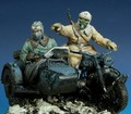 1/35 escala WW2 alemán alemán de la motocicleta de equipo WWII figura de la resina modelo Kit envío gratis
