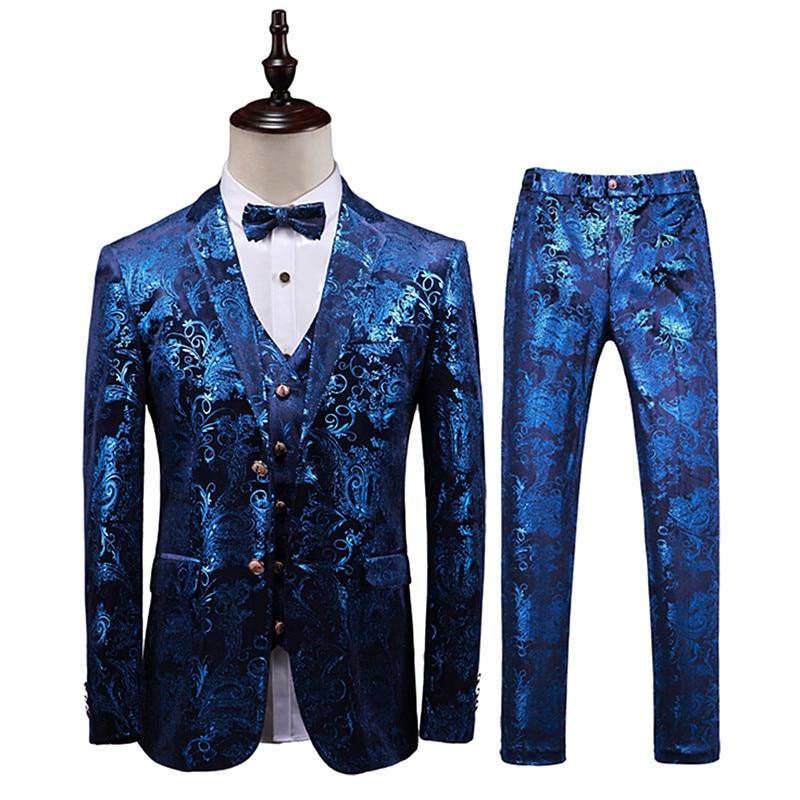 Suits mens luxury bronzing local gold printing banquet high-end Plus size fashion suit / (blazer + vest pants) suits 3pcs