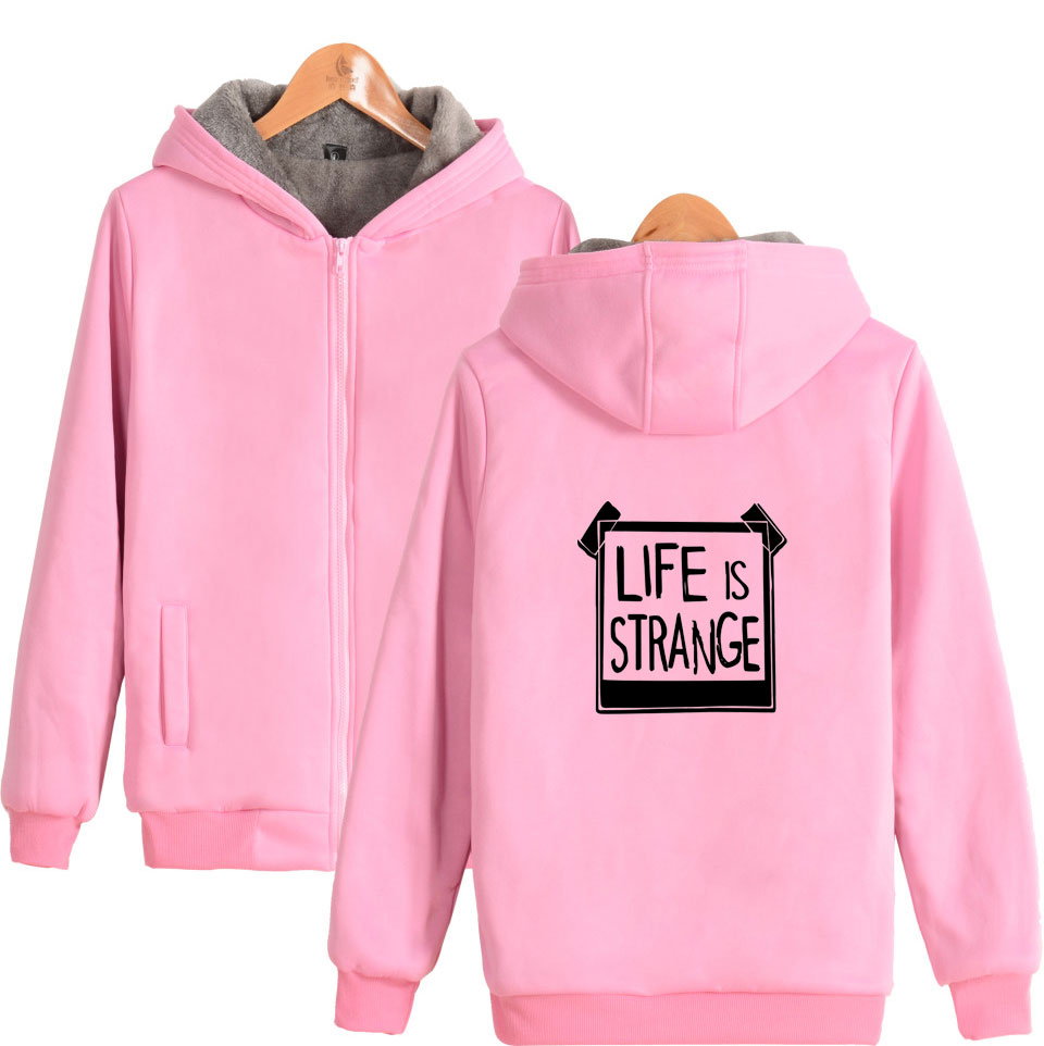 Life Is Strang Mens Thicken Zipper Sweater Winter Funny Pattern Loafer Boy Black Sport Zip Hoodie Life Is Strang