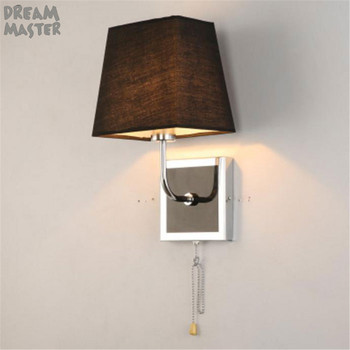 Pull chain switch Fabric Wall Lamp square base wall Lights square Shade Night light industrial hotel home E27 wall sconces