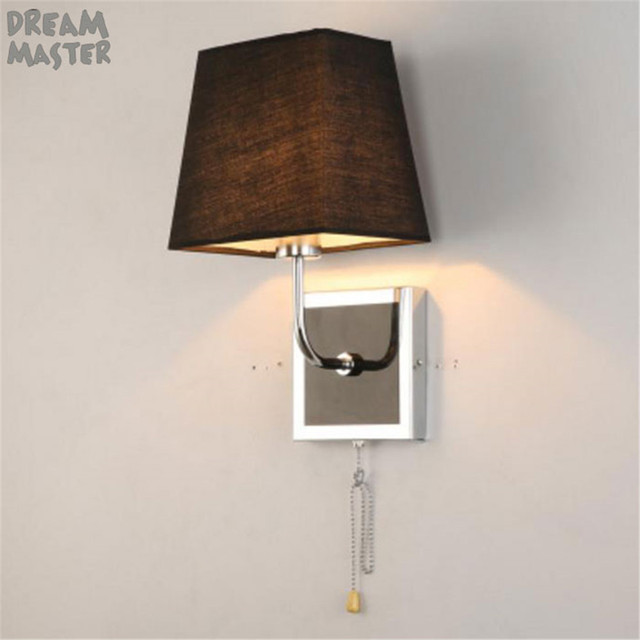 Pull Chain Switch Fabric Wall Lamp Square Base Lights Shade Night Light Hotel