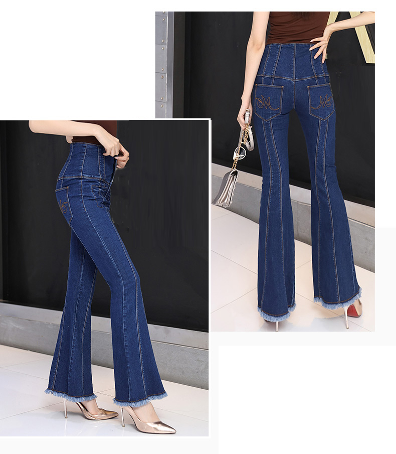 Fall Spring Fashion Women High Waisted Buttons Stretch Tassel Blue Denim Flare Jeans , Autumn Elastic Jeans Trousers For Woman - 2