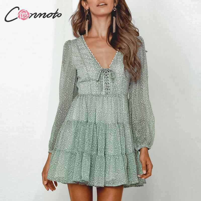 Conmoto Chiffon Green Lace Up 2019 Winter Dress Casual Party Elegant Dresses Long Sleeve Ruffles Short Dress Vestdios