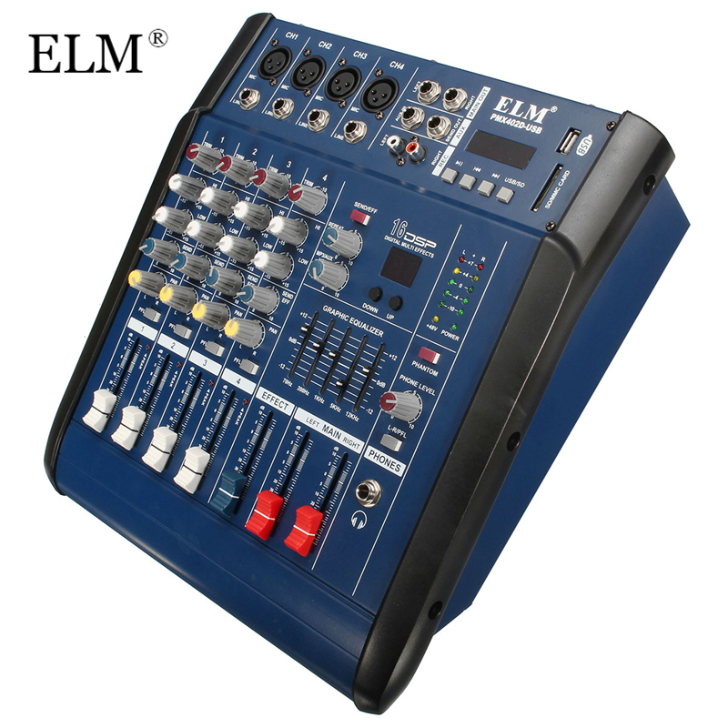 ELM Digital Mixing Console 4 Channels Professional DJ Audio Karaoke Mixing Console With USB 48V Power 16DSP Sound Mixer For DJ