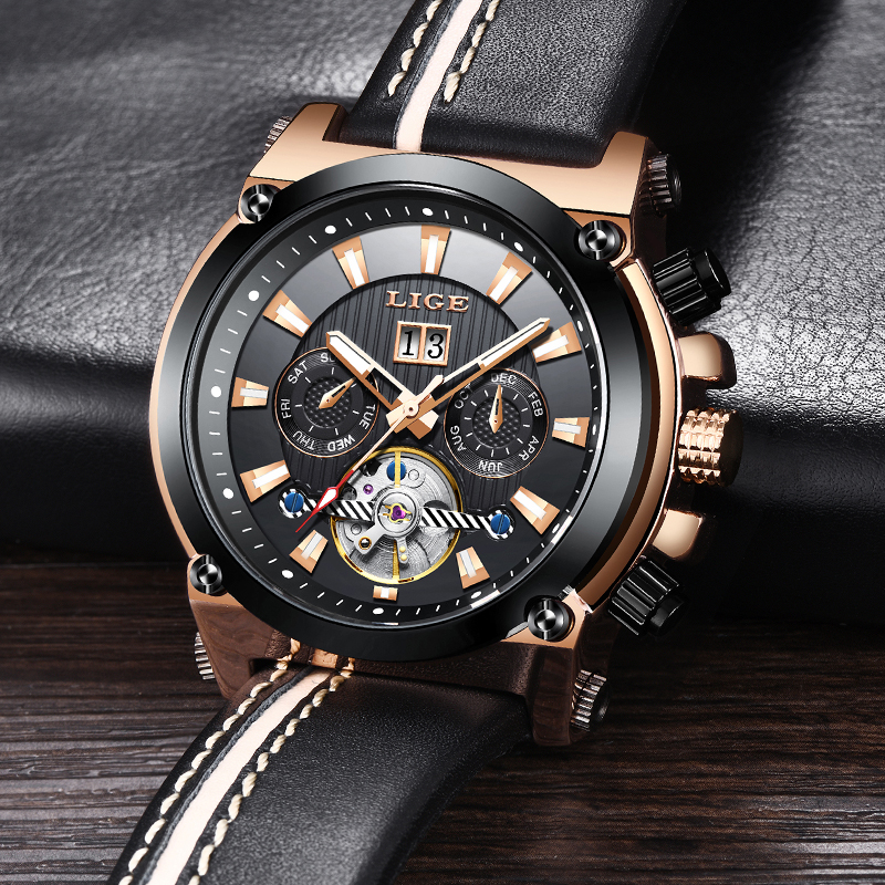 Relogio LIGE Mens Watches Top Brand Luxury Mechanical Watch Men Business Leather Automatic Mechanical Watch Male Business ClockRelogio LIGE Mens Watches Top Brand Luxury Mechanical Watch Men Business Leather Automatic Mechanical Watch Male Business Clock