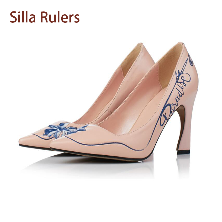 Silla Rulers Elegant Ladies Genuine Leather Shallow Mouth Pumps Print Pointy Toe High Heel Women Dress Party Wedding Shoes burgundy gray saphire blue pink women dress party career work shoes flock shallow mouth stiletto thin high heel pumps