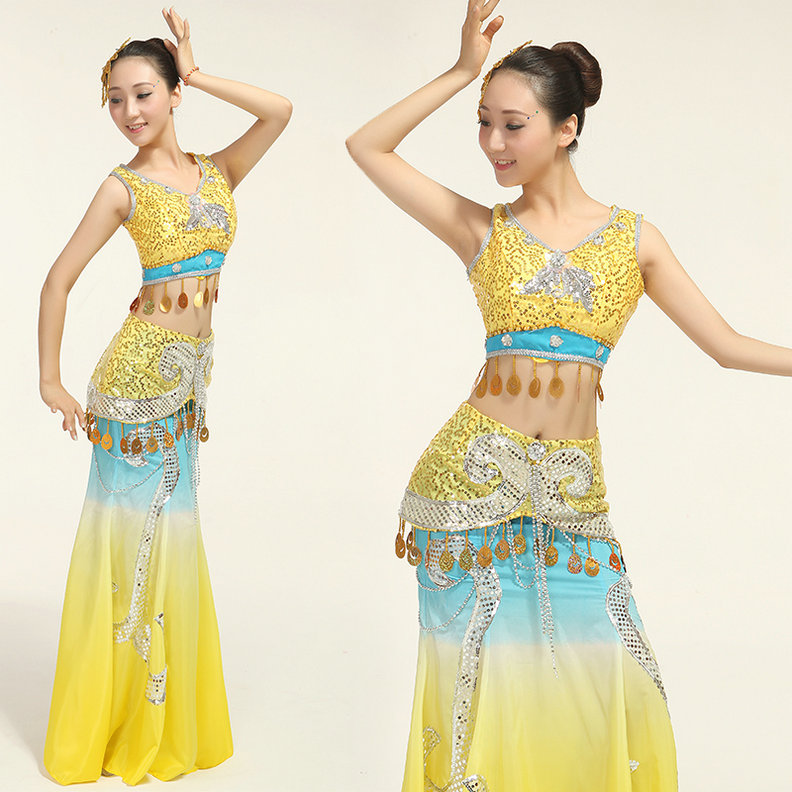 Show details for 2017 Ancient Chinese Costume New Sequined Peacock Costumes Chinese Folk Dance Wear Ethnic Thailand Yunnan Dai Fishtail Skirt