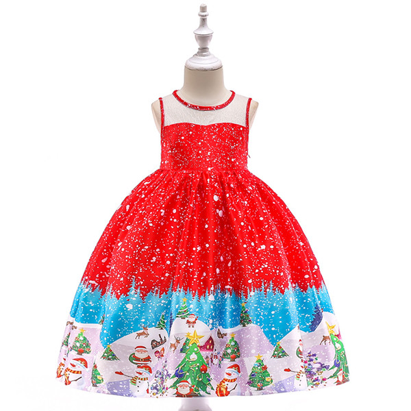2019 Summer new Girl dress Christmas girl child dress Santa thick forged printed princess dress European American hot girl dress
