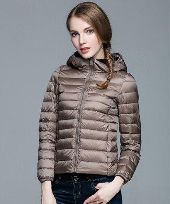 Складываемая женская зимняя куртка с длинным рукавом, однотонное женское теплое пуховое пальто, Новое Женское зимнее пальто с капюшоном Casaco Feminino - Цвет: Khaki