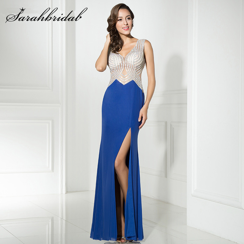 New Arrival In Stock Royal Blue Evening font b Dresses b font 2017 Mermaid Style font