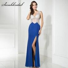 New Arrival In Stock  Royal Blue Evening Dresses 2017 Mermaid Style V Neck Beaded Side Split Prom Dresses Robe De Soiree LSX326
