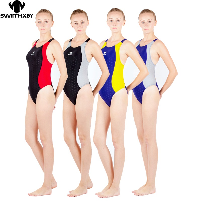 hxby vysoce kvalitní jeden kus trojúhelník závodní soutěž vodotěsný odolný proti chlóru ženy plavky plus plavecké velikosti plavky
