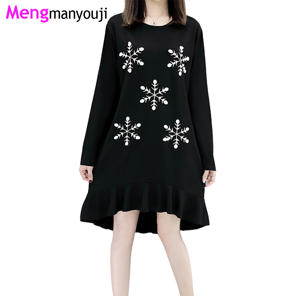 Autumn font b Women b font Cotton Dress Snow Pattern Ruffles Hem O Neck Long Sleeve