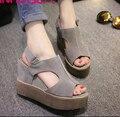2016 Новый Стиль Сандалии Женская Обувь Женщина Летние Клинья Платформы Старинные Высокие Каблуки Открытым Носком на Молнии Sandalias Zapatos Mujer