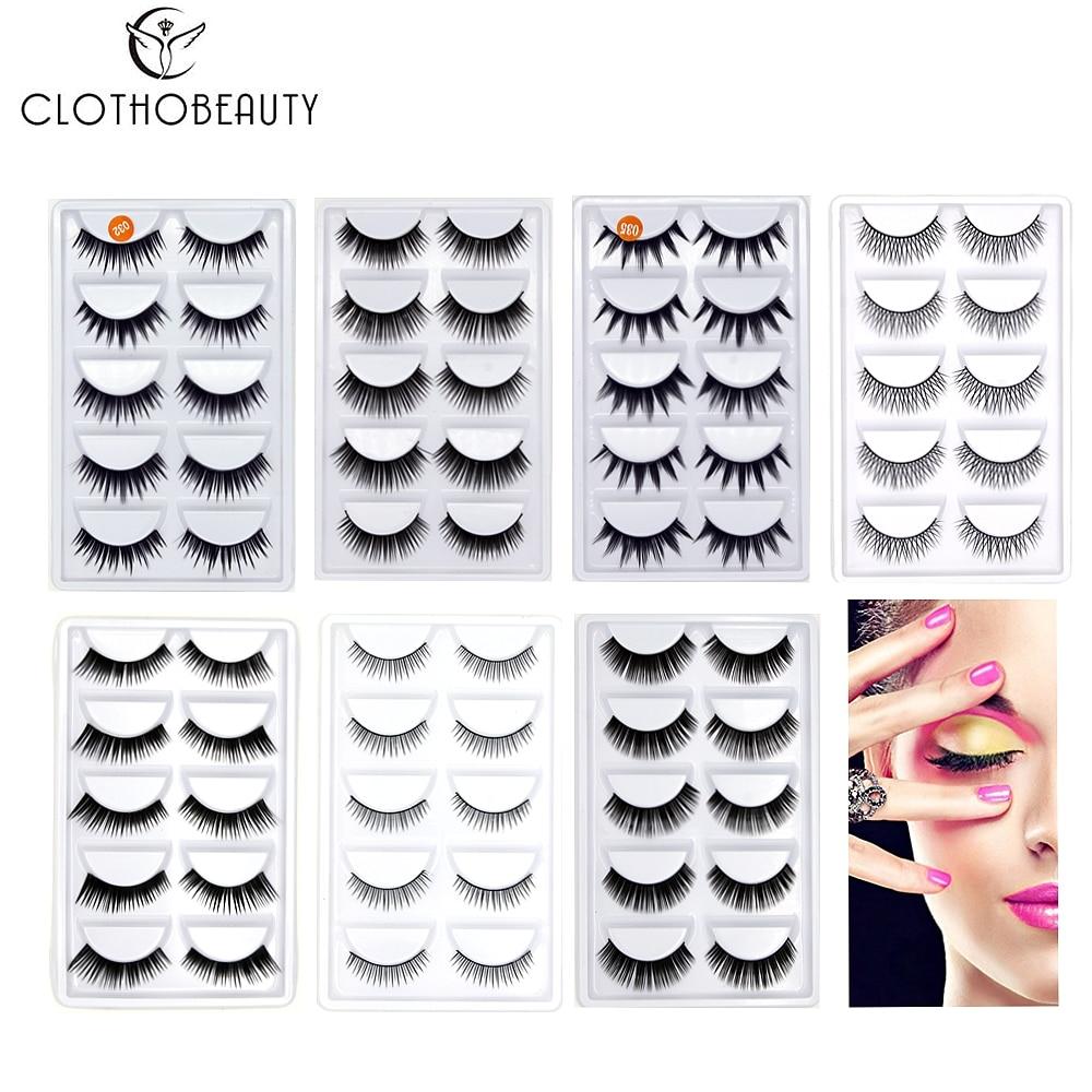 CLOTHOBEAUTY False Eyelashes 5 Pairs Natural 3D Handmade Fake Eyelashes Soft Invisible Band,Long/Thick Reusable For Makeup(C)