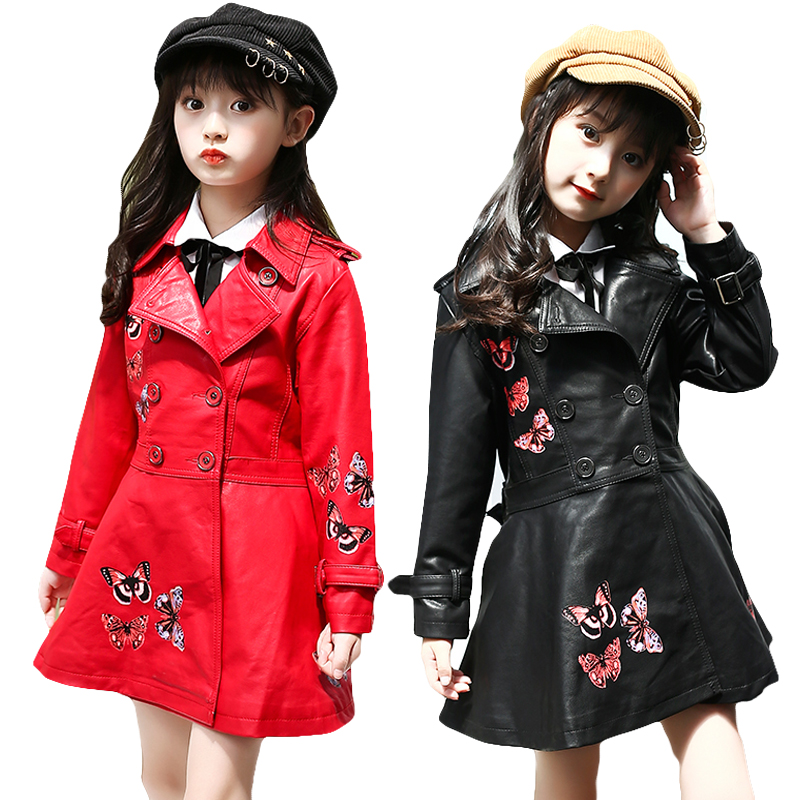 New 2017 Cartoon Thickened Big Girl Clothes Autumn Winter Pu Leather Jackets Female Children Casual Clothing For 6 to 14 Years 2015 winter clothes new high end brand children s clothing exquisite lace flower adornment waist thickened