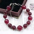 Vintage Classic Laboratory-created Stone Jewelry Noble Designer Rubies Beaded Chain Strand Bracelet  22cm