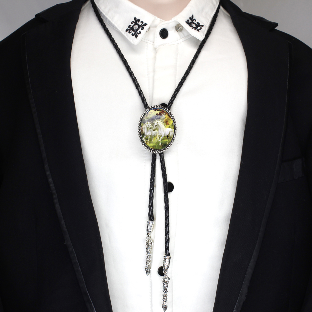 Mens Fashion Unicorns Bolo Tie Personality Metal Nacklace Ties Wedding necklace Business Fantasy Pegasus Leather Neck Tie