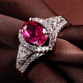LIAMTING Wholesale Rings For Women New Fashion Classic Red Stone Ring Inlaid Zircon And Rhinestone 925 Sterling Silver VB039