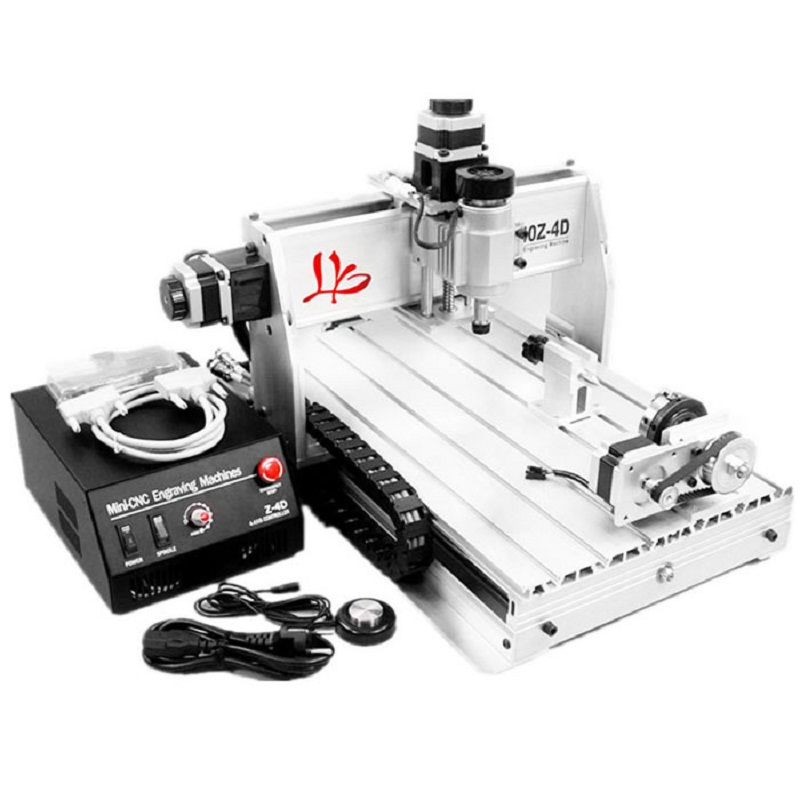 цена на 4axis 3D CNC Router 3040 Z-DQ Milling Machine with auto-checking tool and 4 free cnc clamps