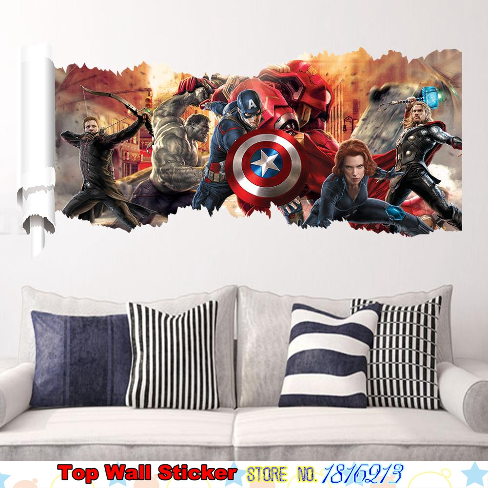 3D Marvel Avengers Wall Sticker For Kids Boys Christmas Gifts Living ...