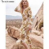 2018новое высокое модное дизайнерское желтое Многоуровневое платье с оборками и асимметричным цветочным принтом миди шелковое платье от пра