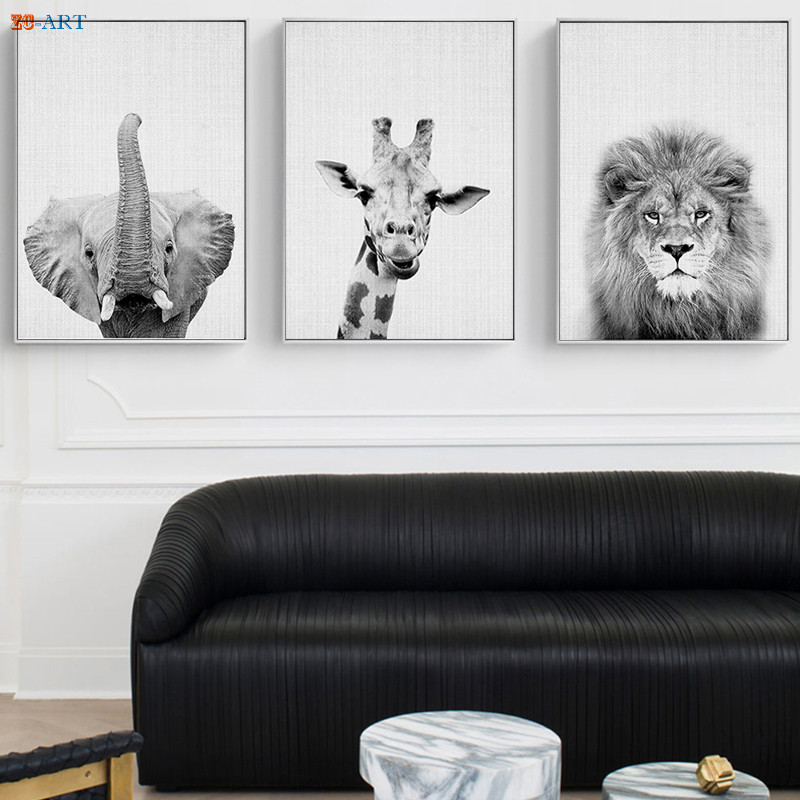 Wildlife Woodland Animals Canvas Painting Black White Poster Print Wall Art Pictures for Living Room Safari Nursery Decor