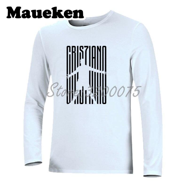 Homens Cristiano Ronaldo 7 CR7 JUVE Bem vindo A T Shirt Camisa Roupas T dos homens  de Manga Longa Outono Inverno W18071001 em Camisetas de Dos homens de ... 110bdc4ced259