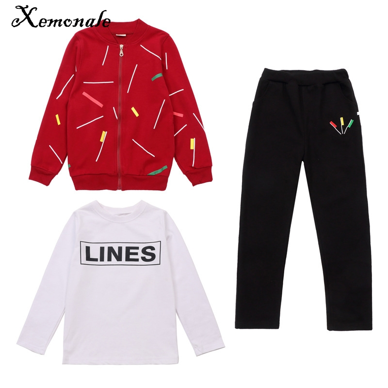 Xemonale Baby Children Boys Sets Autumn 2017 New Kids Boy Jacket+T-Shirt Clothes+Trousers 3Pcs Spring Autumn Childrens Clothing new hot sale 2016 korean style boy autumn and spring baby boy short sleeve t shirt children fashion tees t shirt ages