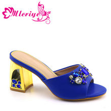 Many colors selection 2019 Africa blue Italian design shoes without matching bag Lager Size slippers antiskid shoe not with bag(China)
