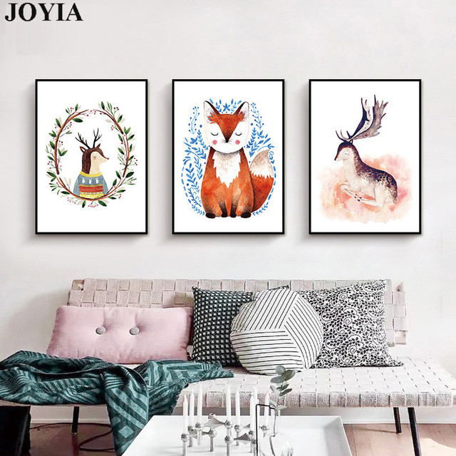 Nordic Kawaii Animal Posters Art Prints Deer Wolf Canvas Paintings Cartoon Nursery Kids Baby Room Wall Decor Pictures No Frame