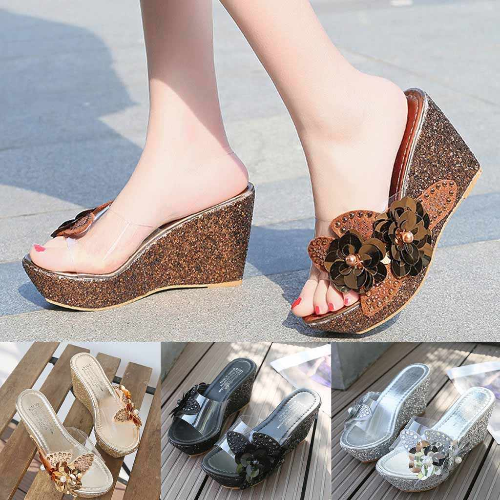 85f3ad57cf Rhinestone sequins Wedges Sandals Fashion Womens Summer Slip On Thick  Bottom Transparent Belt Flowers Roman Casual