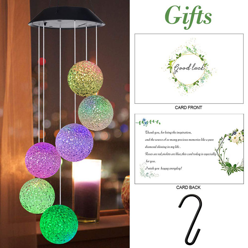 Outdoor Solar LED Ball Light Colorful Wind Chime Light Decoration Lamp LKS99