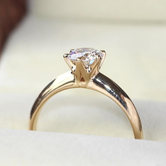 Queen brilliance revolucionario 1 quilates genuino 14 k oro amarillo 585 ct anillo de diamante de moissanite para las mujeres de compromiso y boda