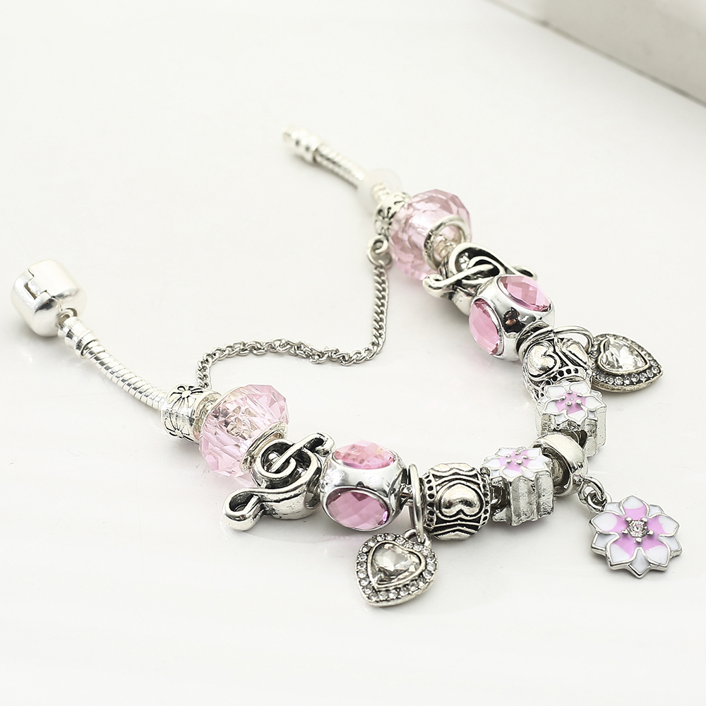 Queen Jewelry Plated Silver Charms Bracelet Bangles With Magnolia Flower Beads fit Brand Bracelet for Women Gifts in Charm Bracelets from Jewelry Accessories