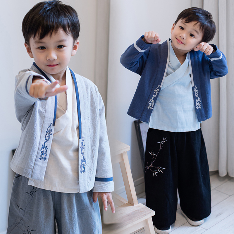 Chinese Style 3 Piece Tang Suit Clothing Baby Boys Kimono Robe Gown Children Cosplay Clothes Vintage Performance Hanfu Costume