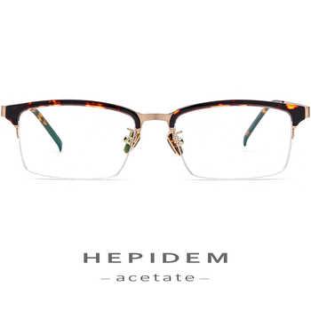 Acetate Optical Glasses Frame Men 2018 New Fashion Thin Metal Spectacle Women Myopia Prescription Eyeglasses Female Half Eyewear - DISCOUNT ITEM  32% OFF Apparel Accessories