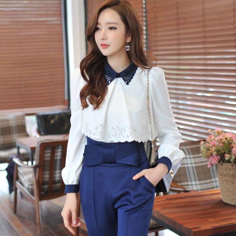 Original 2016 Brand Autumn Shirts Female Long Sleeve Slim Kimono Hollow Blusas Y Camisas Mujer Women Blouses