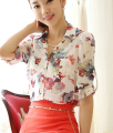 Free Shipping 2016 Spring Summer New Arrival Korean Loose Flower Printed Turn-down Collar Chiffon Blouse