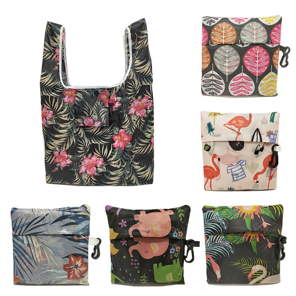 New Women Bag  Foldable Handy Shopping Printing Reusable Tote Pouch Lay Multifunction Recycle Storage Handbag Organizer