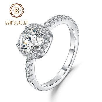 GEM'S BALLET 925 Sterling Silver Halo Engagement Ring 0.5Ct 5mm EF Color Giselle Moissanite Rings For Women Fine Jewelry