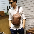 New Brand Design Crazy Horse PU Leather Travel Casual Riding Motorcycle Shoulder Messenger Sling Chest Bag Back pack