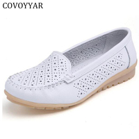 NEWORANGE 2017 Breathable Flat Women Shoes Spring Summer Genuine Leather Cut Out Lady Shoes Slip On