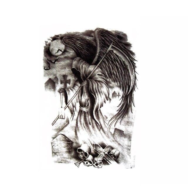 Nuevos Diseños de Tatuajes de carpa negra grande de 48x35 cm para hombres y mujeres, Tatuajes Temporales grandes a prueba de agua, tatuajes falsos de cuerpo entero