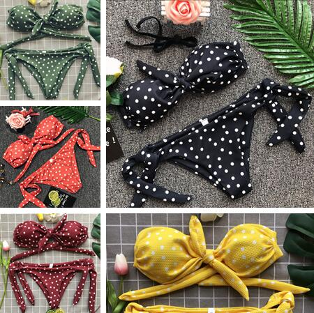 2018 Populaire Dot Bikini Bandeau Push Up Maillots De Bain Femmes Bretelles Maillot de Bain Off Épaule Maillot de bain Beachwear String