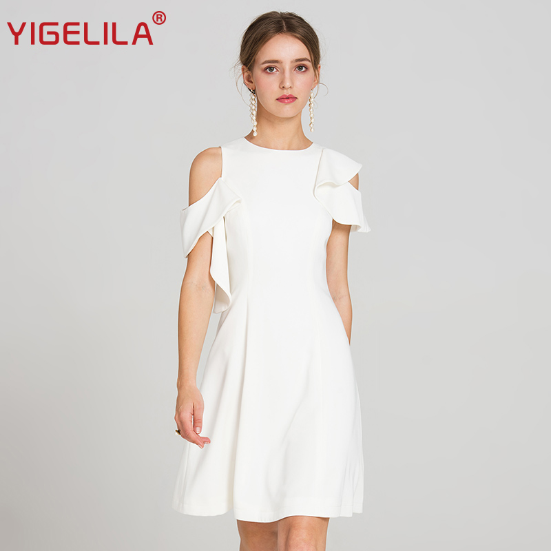 YIGELILA 2019 最新夏の女性のファッション O ネックノースリーブフリル帝国 A ライン膝丈ホワイトカジュアルドレス 62874  グループ上の レディース衣服 からの ドレス の中 1